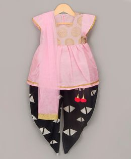 Sorbet Dhoti Kurta Set With Dupatta - Pink & Black