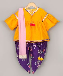 Sorbet Kurta Dhoti Set With Dupatta - Yellow & Purple