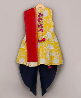 Sorbet Sleeveless Kurta With Dhoti & Dupatta - Yellow
