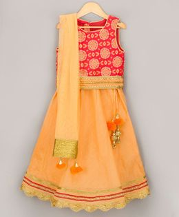Sorbet Brocade Choli & Solid Lehenga With Dupatta - Red