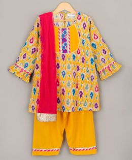 Sorbet Printed Full Sleeves Kurta & Salwar Set With Dupatta - Yellow