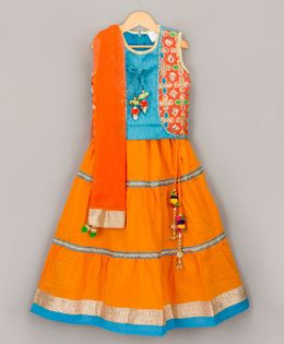 Sorbet Embroidered Choli With Lehenga & Dupatta - Orange