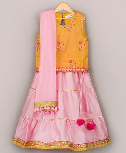 Sorbet Embroidered Choli With Lehenga & Dupatta - Yellow & Pink