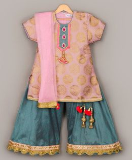 Sorbet Choli With Palazzo Pants & Dupatta - Pink