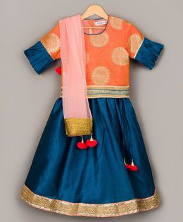 Sorbet Brocade Choli With Lehenga & Dupatta - Orange & Blue