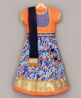 Sorbet Choli With Printed Lehenga & Dupatta - Orange & Blue