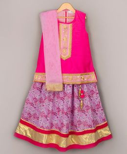 Sorbet Choli With Printed Lehenga & Dupatta - Pink