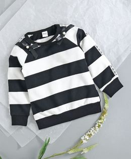 Menga Wa Striped Full Sleeves Tee With Bow - Black & White