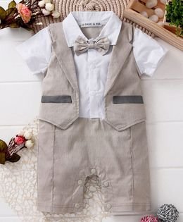 Mark & Mia Solid Half Sleeves Romper With Attached Waistcoat - Beige