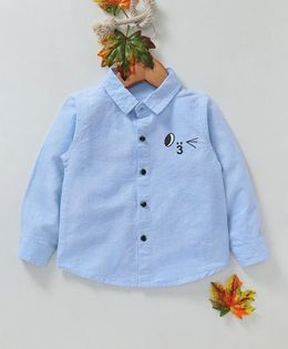 Kookie Kids Solid Full Sleeves Shirt - Blue