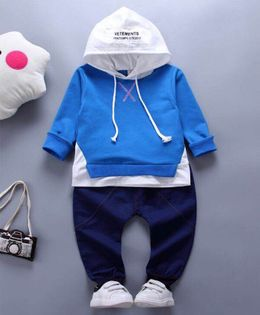 Pre Order - Wonderland Hooded Tee & Full Length Bottom Set - Blue