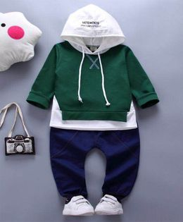 Pre Order - Wonderland Hooded Tee & Full Length Bottom Set - Green