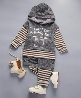 Pre Order - Wonderland Striped Tee With Hoodie & Bottom Set - Grey