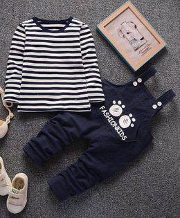 Pre Order - Wonderland Striped Tee & Dungaree Set - Navy Blue