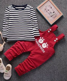 Pre Order - Wonderland Striped Tee & Dungaree Set - Red