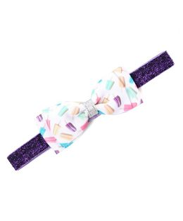 Flaunt Chic Ice Cream Printed Bow Headband - Purple