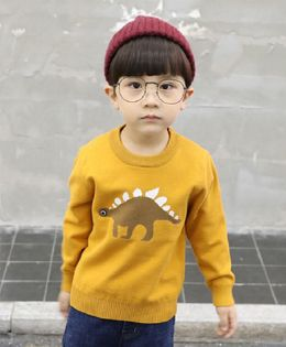 Pre Order - Awabox Dinosaur Print Full Sleeves Sweater - Yellow