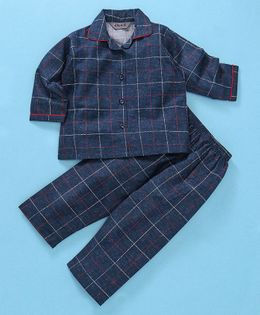 Enfance Core Checks Full Sleeves Night Suit Set - Blue