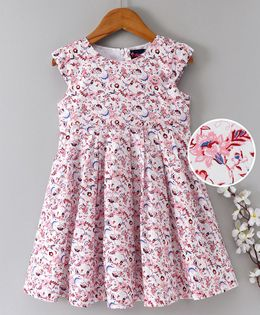 Enfance Core Printed Dress With Smiley Brooch - Pink