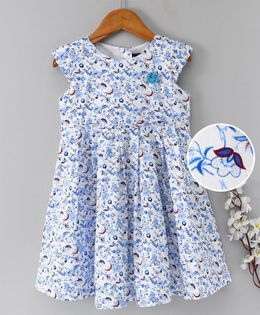 Enfance Core Printed Dress With Smiley Brooch - Blue