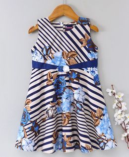 Enfance Core Flower Print Sleeveless Dress - Blue