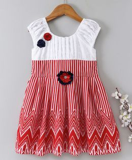 Enfance Core Printed Casual Dress With Flower Applique - Red