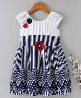 Enfance Core Printed Casual Dress With Flower Applique - Blue