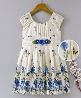 Enfance Core Floral Printed Dress With Flower Applique  - Blue