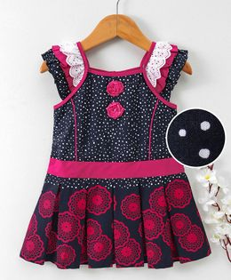 Enfance Core Printed Square Neck Dress With Flower Brooch - Pink