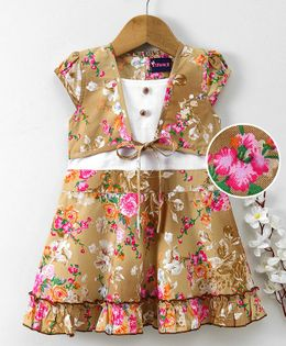 Enfance Core Flower Printed Dress With Attached Jacket - Brown
