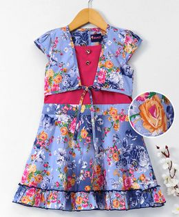 Enfance Core Flower Printed Dress With Attached Jacket - Blue