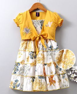 Enfance Core Printed Sleeveless Dress With Jacket - Yellow