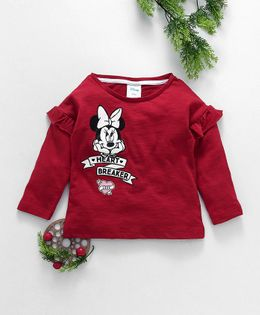 Fox Baby Full Sleeves Tee Minnie Mouse Print - Red