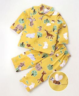 ToffyHouse Full Sleeves Night Suit Jungle Print - Yellow