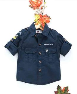 Kookie Kids Solid Full Sleeves Shirt - Dark Blue