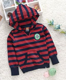 Little Kangaroos Full Sleeves Striped Hooded Sweatshirt Pine Forest Patch - Red & Navy