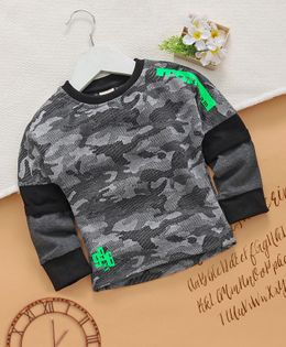 Little Kangaroos Full Sleeves Tee Camouflage Design - Black Grey