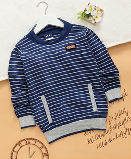 Little Kangaroos Full Sleeves Striped Sweater With Pockets - Navy