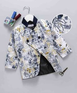 Knotty Kids Floral Print Full Sleeves Blazer - Yellow