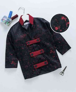 Knotty Kids All Over Printed Full Sleeves Blazer - Black & Red