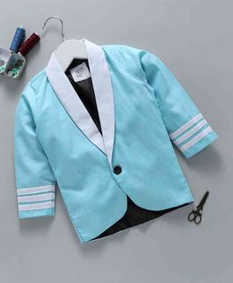 Knotty Kids Solid Full Sleeves Blazer - Blue