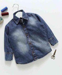 Knotty Kids Striped Full Sleeves Shirt - Blue