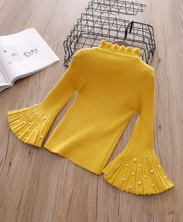 Pre Order - Awabox Rib Knit Bell Sleeves Sweater With Pearls - Yellow