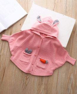Pre Order - Awabox Full Sleeves Hooded Cardigan - Pink