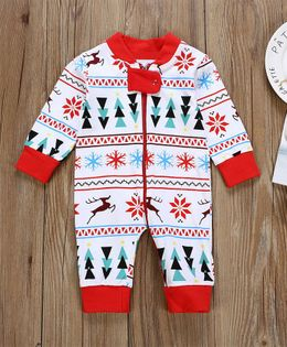 Pre Order - Awabox Snow Theme Full Sleeves Romper - Red