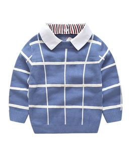 Pre Order - Awabox Checks Full Sleeves Collared Sweater - Blue
