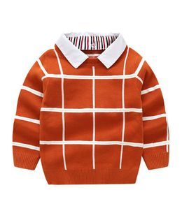 Pre Order - Awabox Checks Full Sleeves Collared Sweater - Red