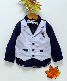 ZY & UP Solid Full Sleeves Shirt With Attached Waistcoat & Bow - Navy