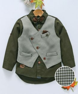 ZY & UP Full Sleeves Shirt With Checked Mock Waistcoat & Bow - Green