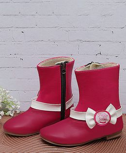 D'chica Peppa Pig Bow Applique Ankle Length Boots - Pink